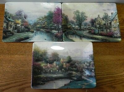 1997 Thomas Kinkade 3 Plates Hanging Lamplight Village set from the Bradford ex.