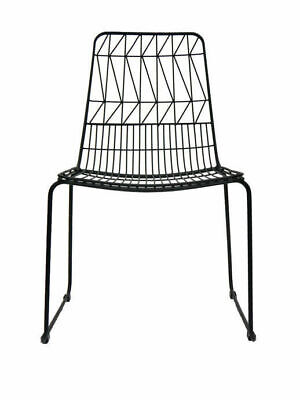 Outdoor Wire Bend Chair Stackable Cafe Seat Dining Replica Lucy Matte Black