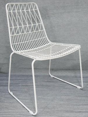 Outdoor Wire Bend Chair Stackable Cafe Seat Dining Replica Lucy Matte White