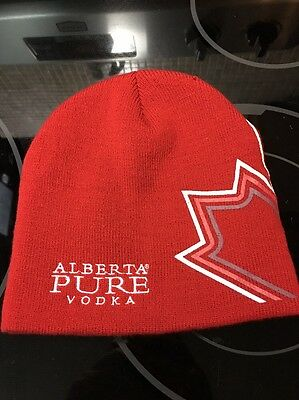 100% Arcrylic Beanie Touque Hat Cap ALBERTA PURE VODKA - One Size Fits Canada
