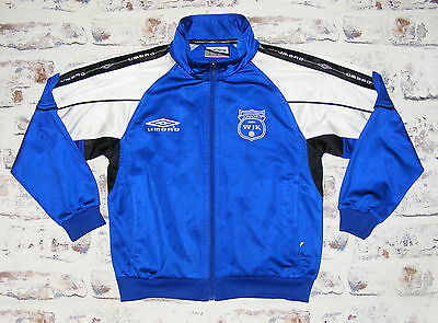 Boys age 10 years 140cm Umbro vintage 90s tracksuit top blue/white (GG64)