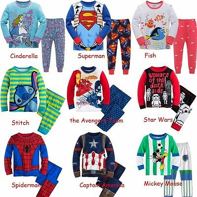 Cartoon Characters Kids Toddler Baby Boys Girls Pajamas Pjs Set Clothes 12M-7T