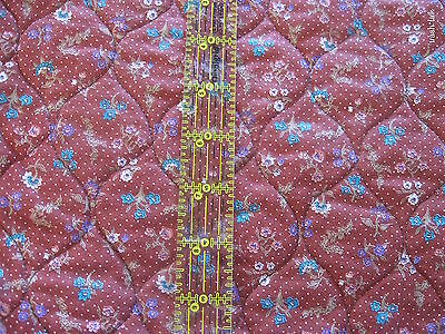 Vtg PreQuilted cotton fabric reversible leaf calico Burgundy blue BTHY half yard