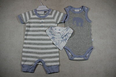 Baby Boy  Size 000,00 Marquise Summer Grey 3 Piece Set Romper  NWT