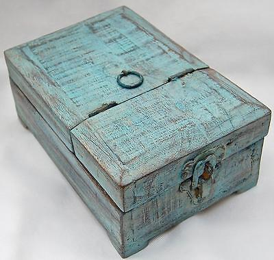 A Barber's Box. An original item from India. In distressed Blue & Natural.