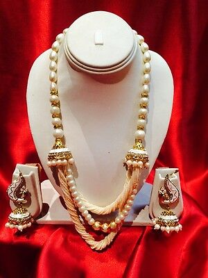 Designer Bollywood Indian Bridal Necklace Earrings Jewellery Set Cream Beads R36