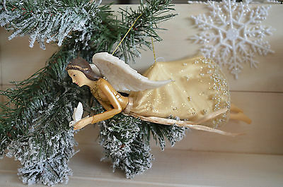 Gisela Graham Gold Fabric/Resin Flying Angel/Fairy with Dove Christmas Dec