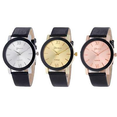 Luxury Men Women Stainless Steel Dial Leather Sport Military Quartz Wrist Watch