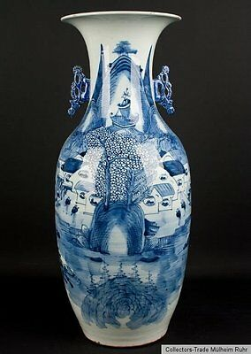 China 20. Jh. Bodenvase A Chinese Blue & White Baluster Vase Vaso Cinese Chinois