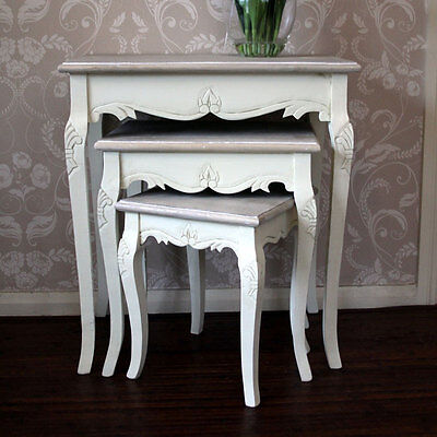 Cream wood nest tables living room shabby french chic country home furniture