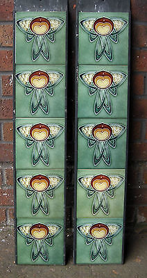 Art Nouveau  Fireplace Tile Set (2 X 5 Tile Panels) Ref An 33