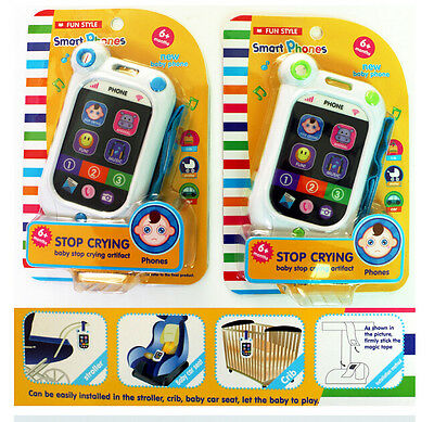 Kids Phone Toy Baby Stop Crying Sound Music Light Rope English Birthday Gift