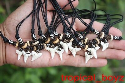 10 Shark Tooth Necklaces Sharks Teeth with Black Spiral Bone Beads Wholesale *