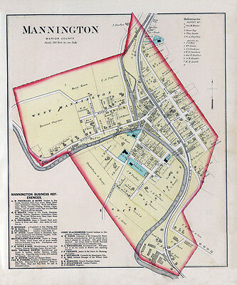 1886 Map of Mannington Marion County West Virginia