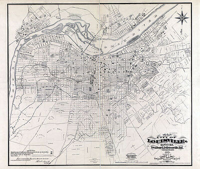 1873 Map of Louisville Kentucky New Albany & Jeffersonville