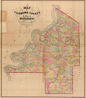 1872 Farm Line Map of Coahoma County Mississippi Jonestown