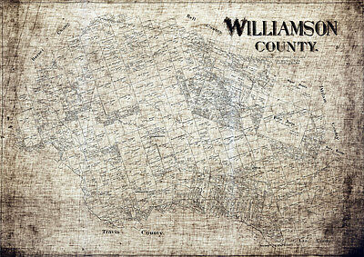 1888 Map of Williamson County Texas