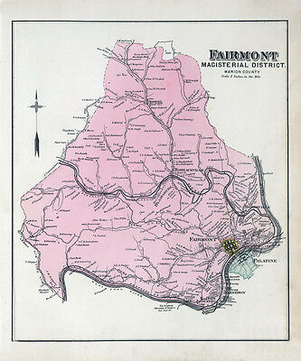 1886 Map of Fairmont Township Marion County West Virginia