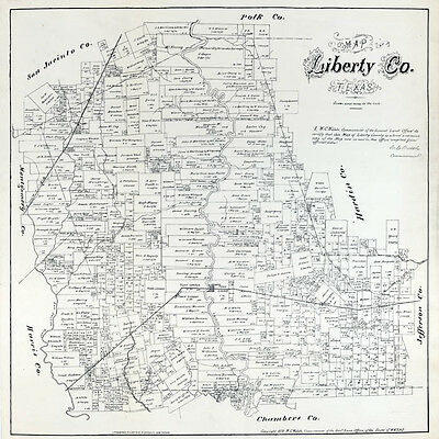 1879 Map of Liberty County Texas