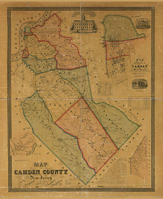 1857 Map of Camden County New Jersey LARGE 40 x 48