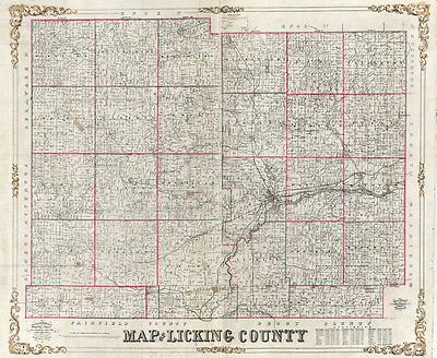 1854 Farm Line Map of Licking County Ohio Newark Granville