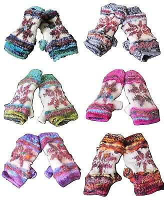 100% Wool Knitted Hand Warmers Colourful Fingerless Silk Hippy Boho Gloves Mits