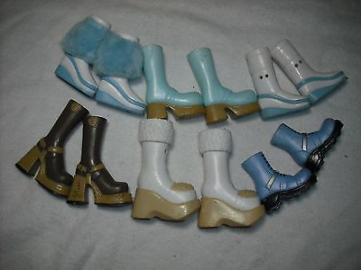 LOT 6 Pairs of Boots Shoes for Standard Size Bratz Dolls