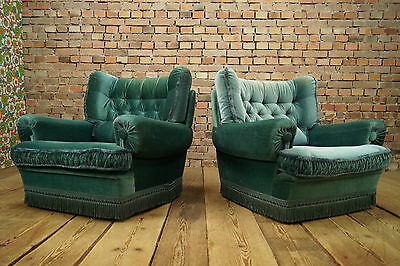 60s VINTAGE 2x ARMCHAIRS ARMCHAIR EASY CHAIR KING & QUEEN CHAIRS FAUTEUIL