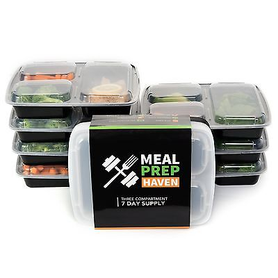 Meal Prep Haven 3-Compartment Food Containers with Lids for Portion Control S...