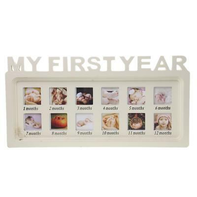 Hanging Baby MY FIRST YEAR Photo Frame PICTURE DISPLAY 12 Months WHITE Wood