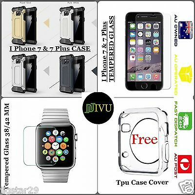 Apple I Phone 7 Accessories bundle with Case + Tempered Glass + Watch Glass
