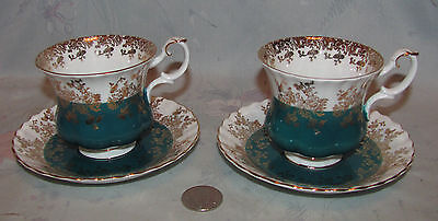 Vintage Royal Albert Tea Cup and Saucer lot of 2 Regal Series in Teal/Blue/Gold