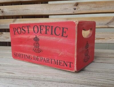 Antique Vintage Style Post Office Wooden Boxes Crates.Medium Size Red Colour