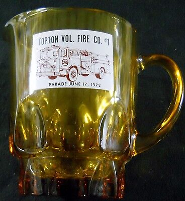 Topton Vol.Fire Co. #1 Parade June 17,1972 Amber Beer Pitcher Pennsylvania Soda