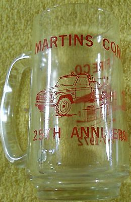 Beer Soda Glass Mug Martins Corner Fire Company 25th Anniversary 1947-1972