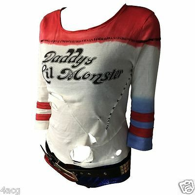 Harley Quinn T-shirt Suicide Squad shirt Daddy's Lil Monster Top Cosplay Costume