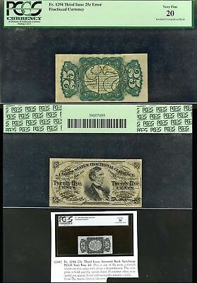 Fr1294 25¢ Fractional Currency 3Rd Issue Inverted Back Pmg 20 Vf Rare Wlm1826