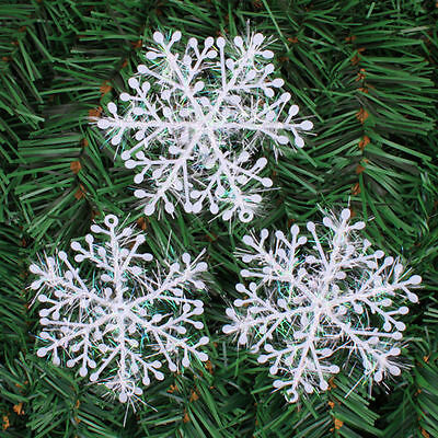 60pcs White Snowflake Ornaments Christmas Xmas Tree Hanging Decorations NEW