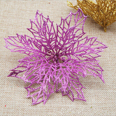 "10pcs 6"" Glitter Hollow Wedding Party Christmas Flowers Xmas Tree Decorations UK"