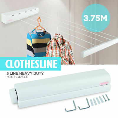Heavy Duty Retractable 5 Line Hang-drying Rack Wall Mountable Clothes line