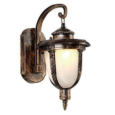 Vintage Antique Brass Finish Single Light Glass Metal Outdoor Wall Lamp Sconce