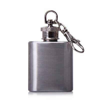 1 oz Portable Stainless Steel Flask with Keyring Silver LW