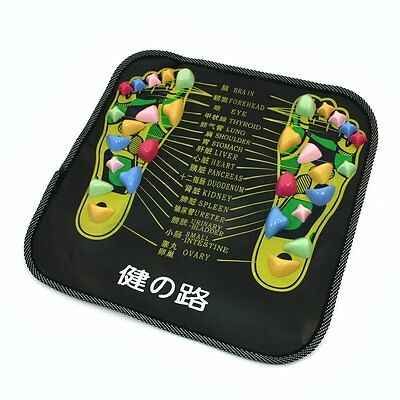 Colored Plastic Walk Stone Square Healthy Foot Massage Mat Pad Cushion LW