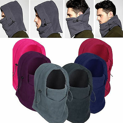 SNOOD 4 in 1 Winter warmer Fleece Men scarf BLACK Hood Balaclava Neck Face Mask
