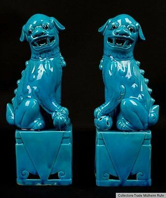 China 20. Jh. A Pair of Chinese Turquoise Glazed Porcelain Dogs of Fo - Chinois