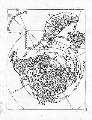 Antique maps, Untitled world map viewed from the north pole, Scherer, 1710