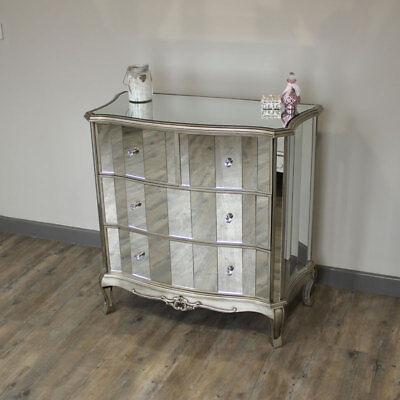 Mirrored sides 4 drawer chest silver painted edging venetian style bedroom home