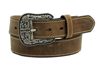Ariat Western Womens Belt Leather Heavy Stitch Edge Brown A1523402