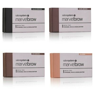 Salon System Marvelbrow Brow Eyebrow Trio - Powder/Wax/Highlighter - 4 Shades