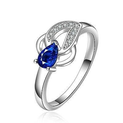 Fashion 925 Sterling Silver Filled Blue Sapphire Wedding Engagement Ring Jewelry
